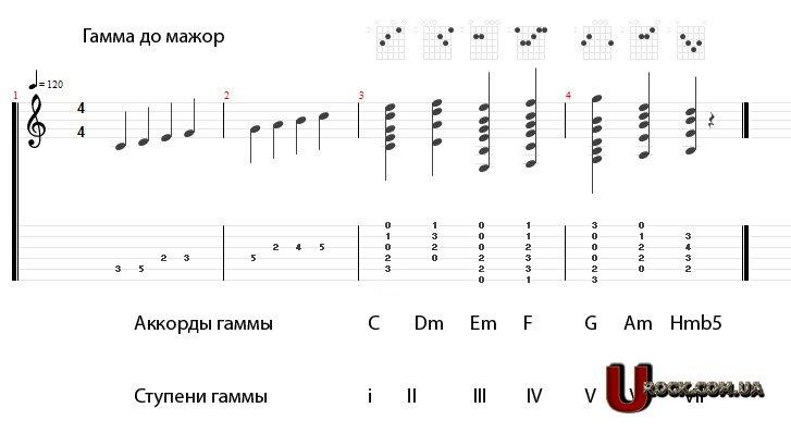 мажор нотами и аккордами
