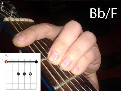 Аккорд Bb/F. Вариант 1